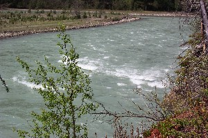 Upper Saunders Rapids from the 25ft cliffs above